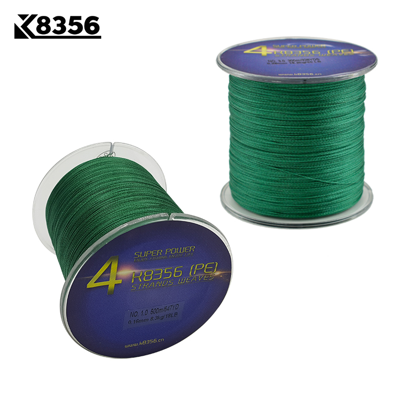 K8356 4 Stands PE Braided Fishing Lines 500M 100 PE Multifilament Braided Wire 15 50LB 547Yards