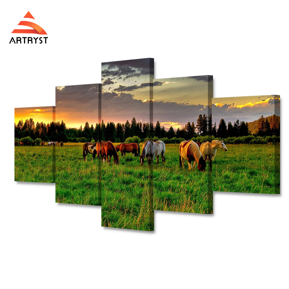 HD Print 5 pcs of modular canvas art poster painting sunset pasture horse image on canvas for home decor living room wall art