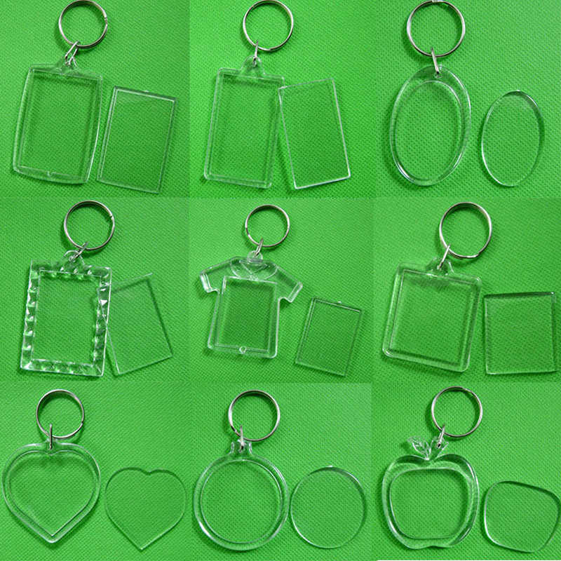 5pcs/lot Rectangle/Heart/Round Styles Transparent Blank Acrylic Insert Photo Picture Frame Keyring Keychain DIY Split Ring Gift