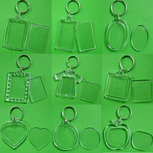 5pcs/lot Rectangle/Heart/Round Styles Transparent Blank Acrylic Insert Photo Picture Frame Keyring Keychain DIY Split Ring Gift(China)
