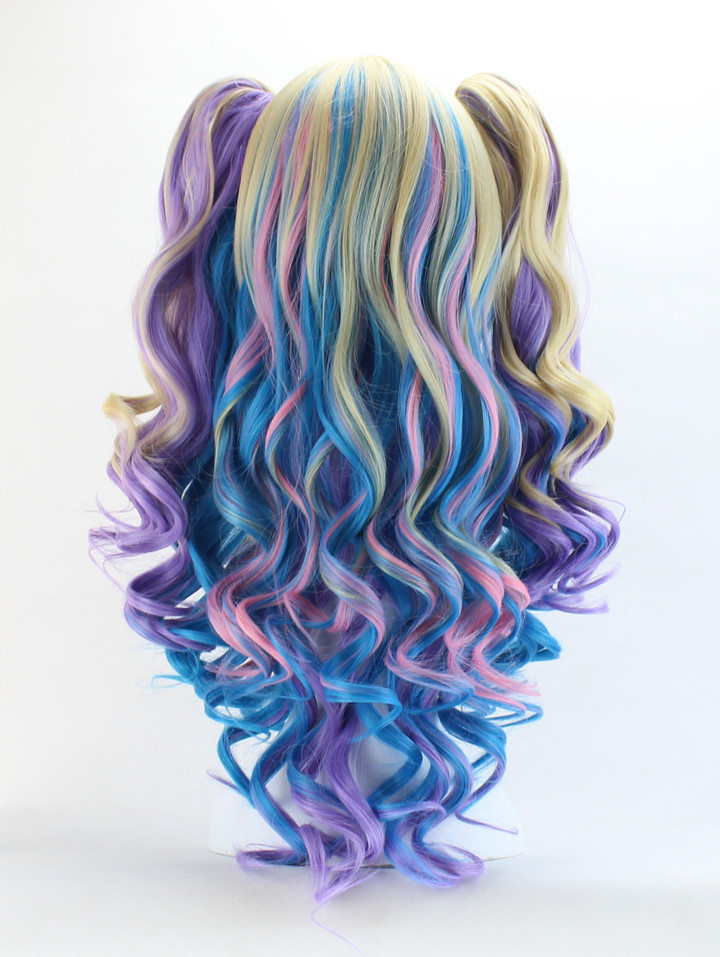 Synthetic full wig for women lolita long multicolor highlights synthetic full wig for women lolita long multicolor highlights curly tiger clip double horsetail party wigs cosplay hair on aliexpress alibaba group pmusecretfo Gallery