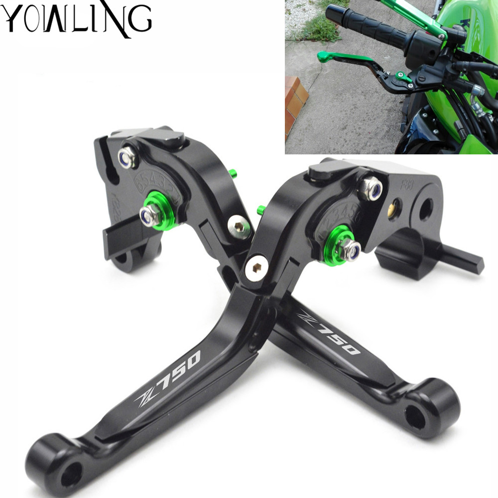 For KAWASAKI Z750 Z 750 2006 2007 2008 Motorcycle Accessories Adjustable CNC Aluminum Brakes Clutch Levers Set Motorbike brake logo z750 for kawasaki z750s z 750s z750 s 2006 2007 2008 motorcycle accessories folding extendable brake clutch levers 20 color