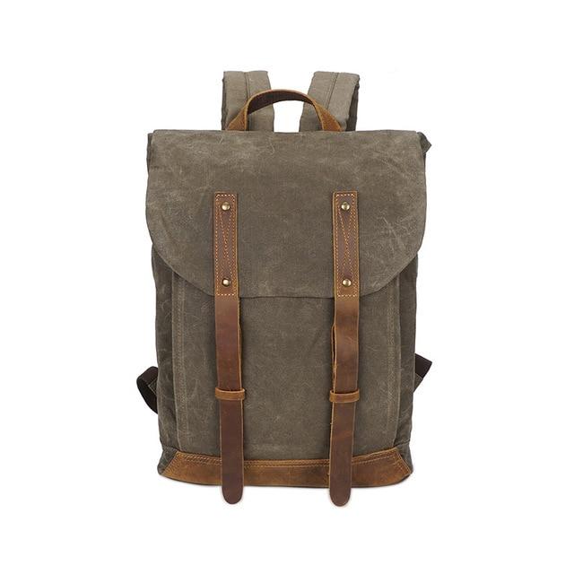 M210 Luxury Vintage Canvas Backpacks 14 Laptop Oil Wax Canvas Leather Travel Backpack Large Waterproof Daypacks