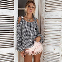 LIVA GIRL Women Plaid Lace Up Off Shoulder Casual Blouse Top Bowknot Camisa Blusa Ladies Spring