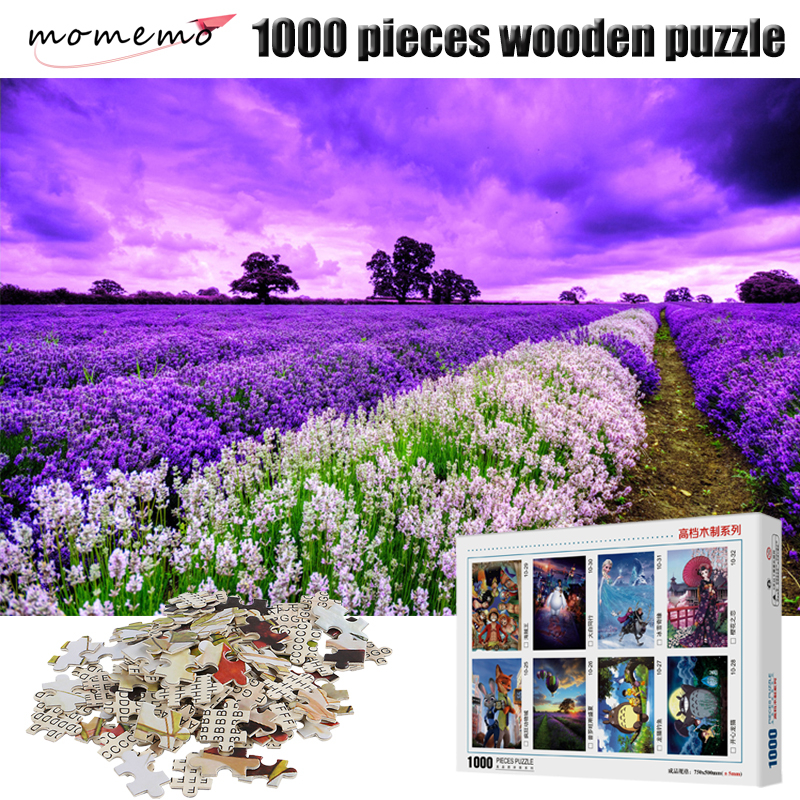 MOMEMO Lavender Field Landscape Jigsaw Puzzles 1000 Pieces Wooden Puzzle Adult Puzzle Assembling Puzzles Toys For Children Gift