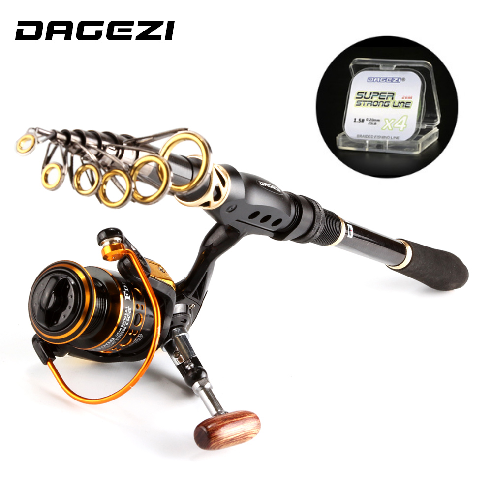 DAGEZI Fishing Rod Combo Spinning Fishing wheel With line Sea Rod 1.8-3.6M Full Kit Telescopic Spinning rod+reel fishing tackle outlife outdoor fishing spinning reel rod kit set with fish line lure hook bag