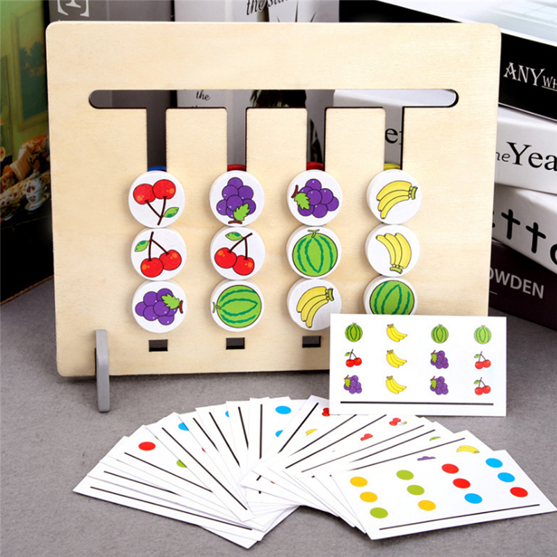 New Style Four Colors/fruit Matching Game Logic Double-sided Children's Educational Toys Gifts Montessori Wooden Children's Toys