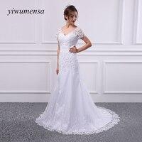 Yiwumensa Curto mangas lace sereia Vestidos de Casamento 2017 Beads Applique vestido de noiva Vestidos de Noiva Robe De Mariage trouwjurk