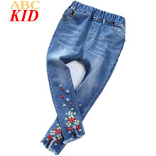 2017 New Girls Jeans Flowers Embroidery Denim Pants Kids Ripped Jeans Blue Roupas Infantis Menina KT175