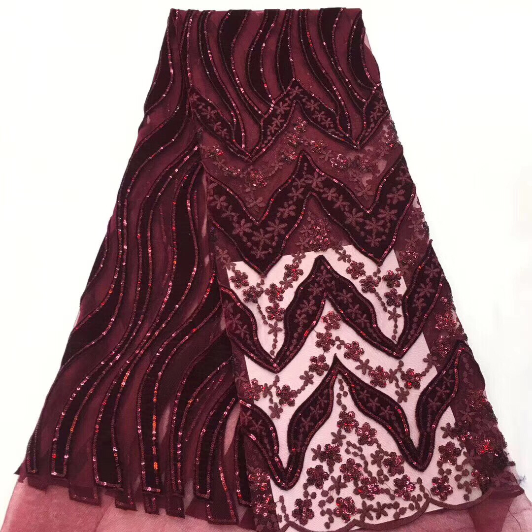 Wine Color African Lace Fabric 2019 High Quality French Velvet Lace Fabric With Sequins Lace Fabric