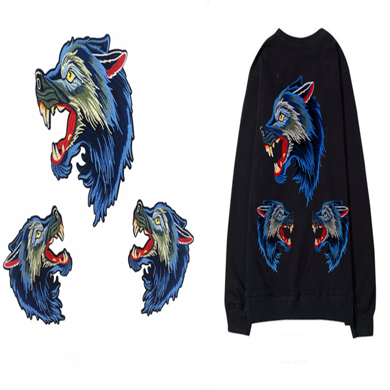 One Set=3Pcs No Repeat High Quality Wolf Head Embroidery Patch Animal Embroidered Patches Iron For Clothes Clothing Applique diy