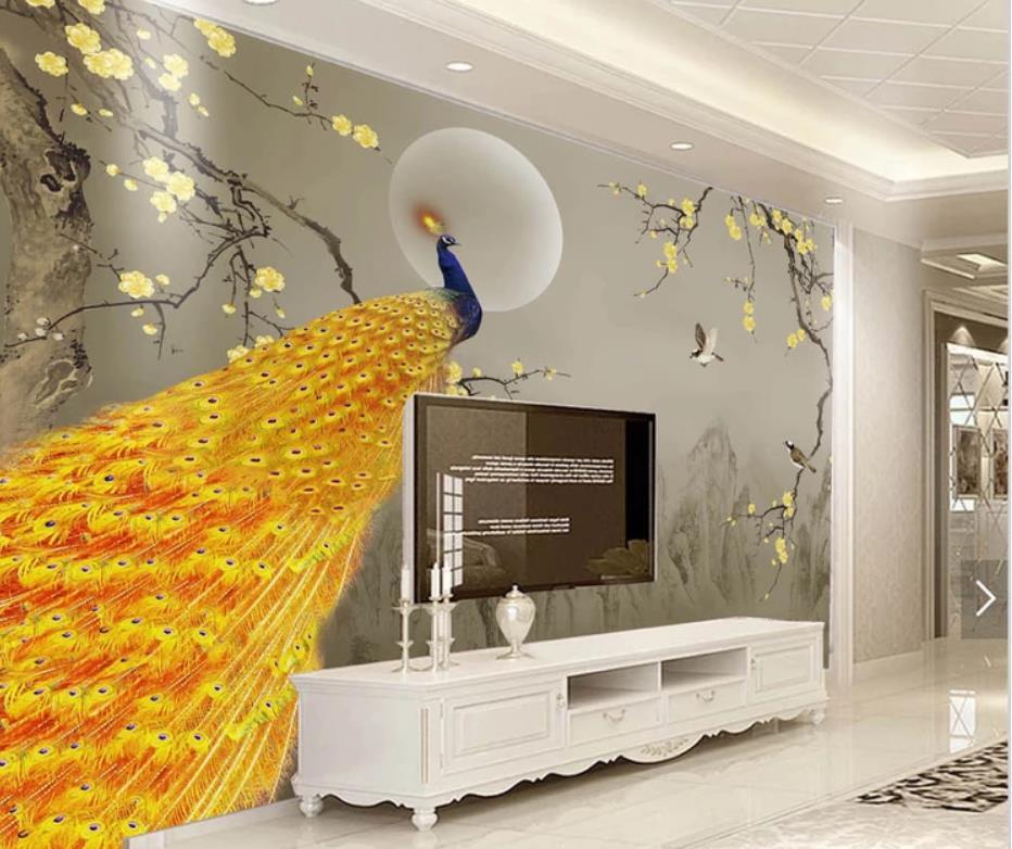 Nouveau chinois encre paysage doré prune paon fleur oiseau mur papier peint pour murs 3 d pour salon - 4