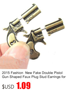 1 Pair Fake Double Pistol Gun Shaped Faux Plug Bronze And Sliver Color Stud Earrings For Women And Men Stud Earrings