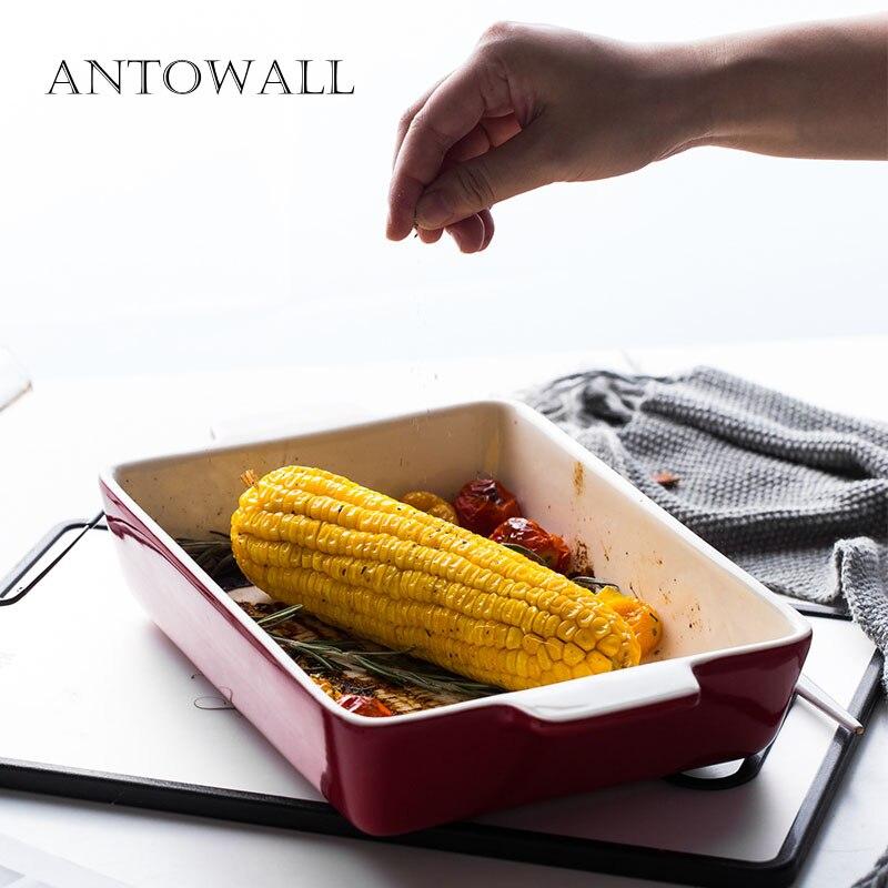 Plat de cuisson en céramique de bol de risotto de double oreilles de fromage de grande taille rectangulaire européen pour le moule antiadhésif de cuisson de ménage de four
