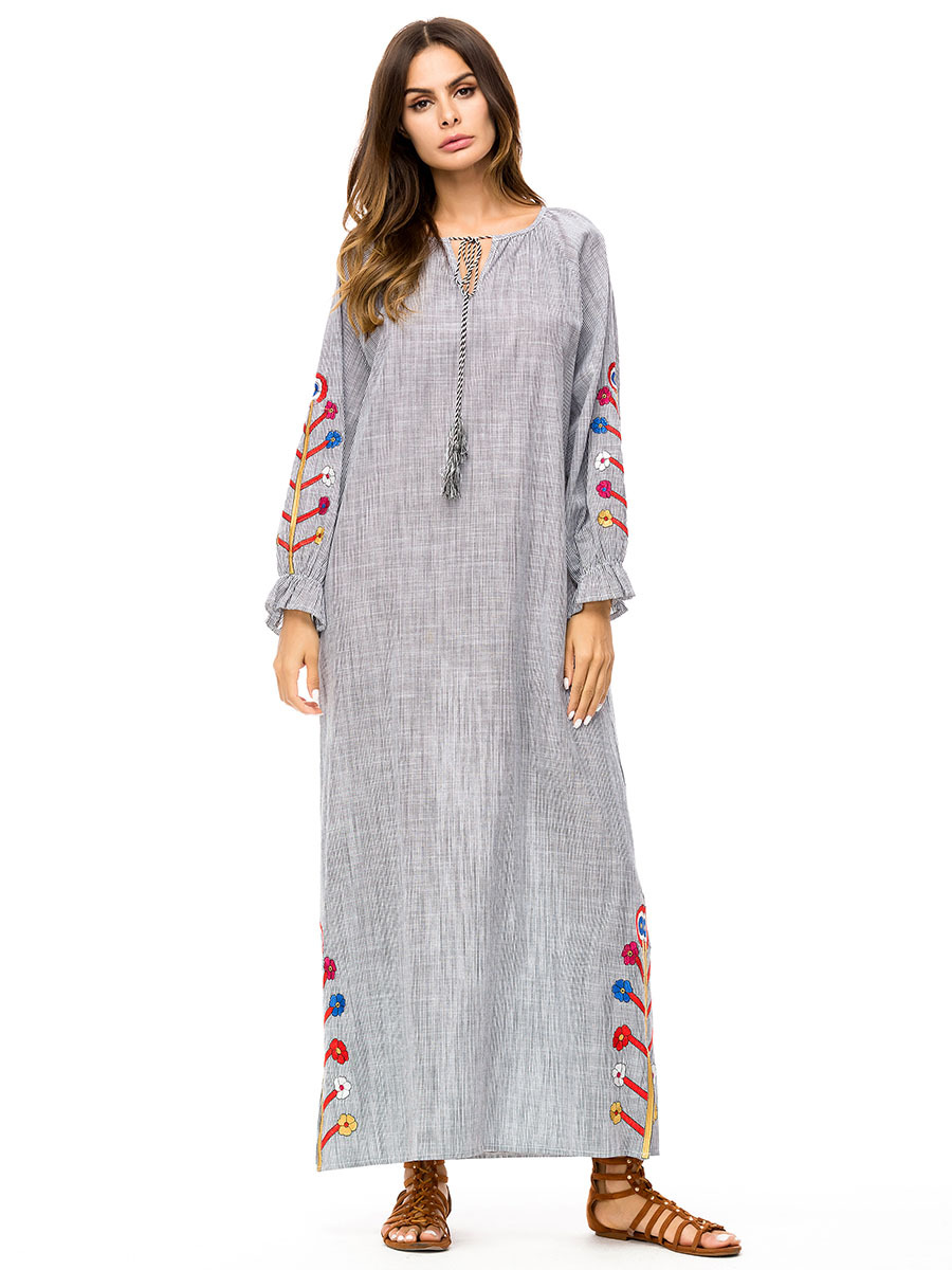 Ramadan Pray Dress Linen Trend Abaya Embroidery Spring Summer Modest Dress Turkey Islamic 4xl 7252 image