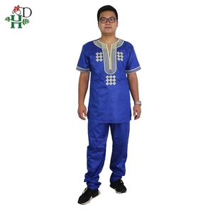 Image 5 - H & D T 셔츠 남성용 2 개 세트 Kids Boys 아프리카 대시키 히피 옷 아버지 아들 Bazin Riche 자수 탑 바지 정장 가운