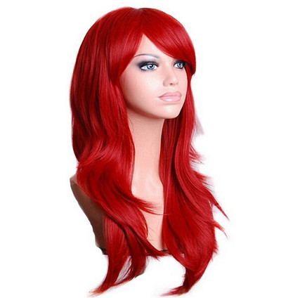 QQXCAIW largo ondulado peluca Cosplay rojo verde vívido azul acuarela Rosa Negro Azul gris plata Rubio marrón 70 cm pelucas de pelo sintético