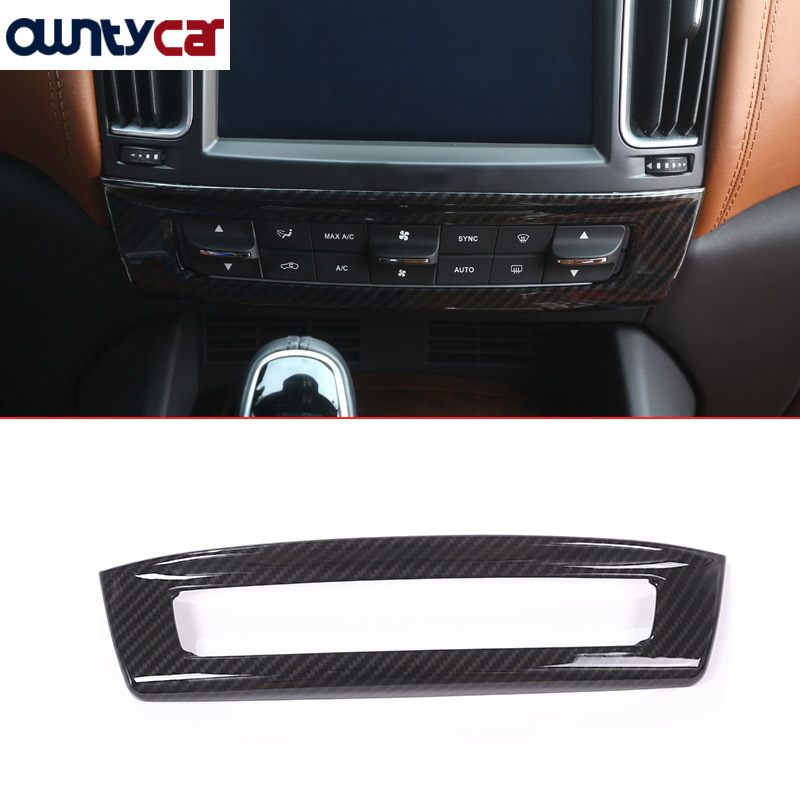 Carbon Fiber Style ABS Plastic For Maserati Levante Car-Styling ABS Central Control Mode Frame Cover Trim Sticker Accessories
