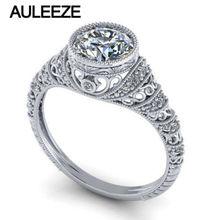 Antique Lab Grow Diamond Engagement Ring 1CT Round Moissanites Wedding Ring Bezel Filigree Vintage Solid 14K 585 White Gold Ring
