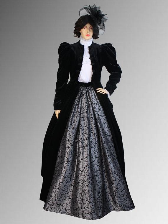 Robe de Style victorien ou édouardien faite à la main avec veste et plusieurs couleurs disponibles commode victorienne Antique en noyer à vendre