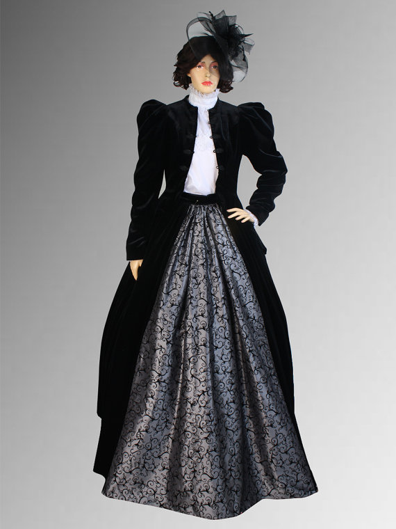 Victorian or Edwardian Style Dress Handmade with Jacket and  Multiple Colors Available Antique Walnut Victorian Dresser For sale
