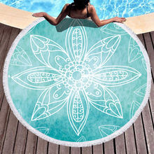 Boho Beach Towels Printed green mandala Towel Microfiber Round Fabric Bath For Living Room Home Decorative