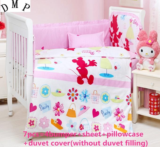 Promotion! 6/7PCS Animal Cot Baby Bedding Set 100% Cotton Crib Bed Set Baby Bed Linen,Duvet Cover,120*60/120*70cm