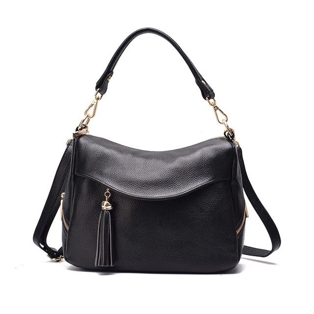 2018 Brand Designer Soft Natural Leather Hobo Bag Female Leisure Women s  Handbag Tassel Crossbody Bag Small Shoulder Bag f4bb9cbd85cde