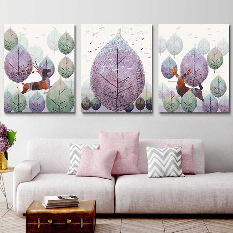 European decorative leaves Vintage Painting DIY Painting By Numbers Kits Acrylic Paint On Canvas Home Wall Art Picture Artwork
