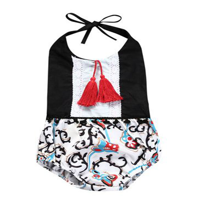 infantil newbron baby sunsuit Beach Suit baby girl clothes cotton halter belt O-neck Sleeveless tassel one-piece rompers outfits