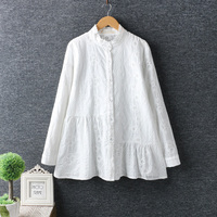 Hollow Out White Embroidery Lacing Collar Cotton Doll Shirt Top Mori Girl 2018 Spring
