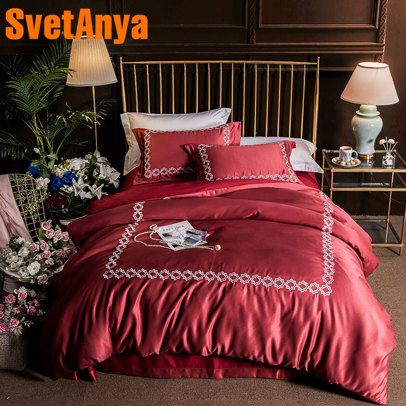 Svetanya Embroidered Bedding Sets Queen King Size Sheet