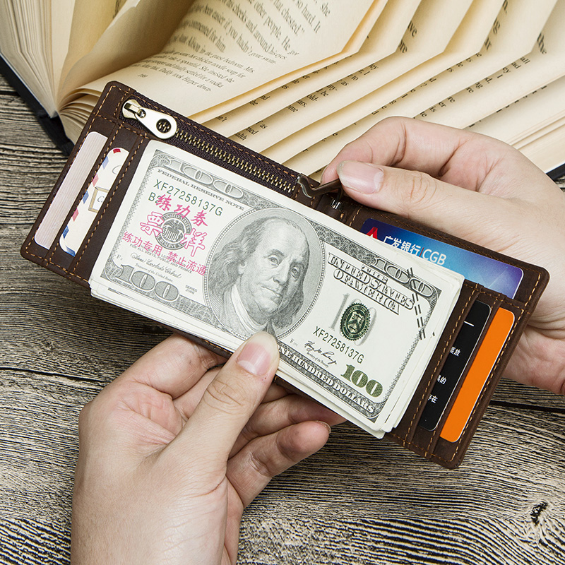 CONTACT'S Crazy Horse men RFID Genuine Leather Money Clip Card Wallet Thin Bifold cash clamp casual cash holder man coin purse 5