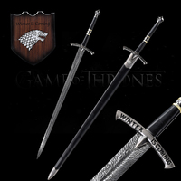 For Game of Thrones Sword Ice Swords Replica Real Stainless Steel With Wall Hanging Stand/Black Wooden Sheath 48Inch