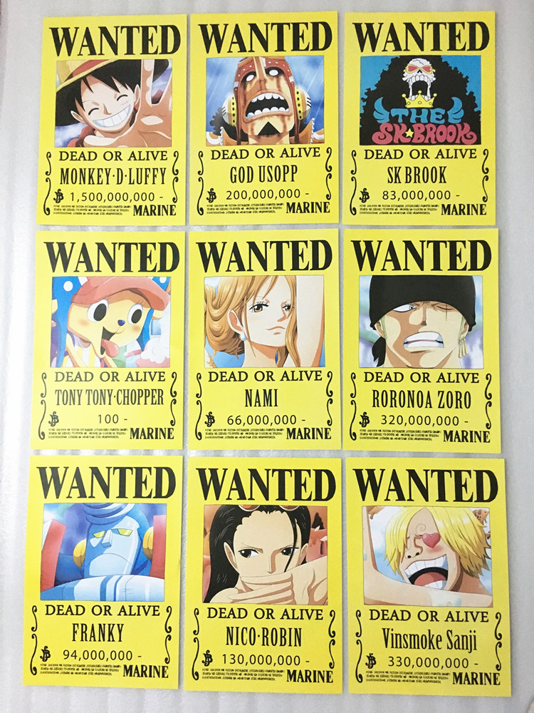 9 ONE PIECE Wanted Posters