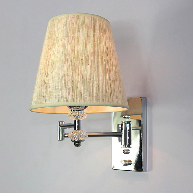 Modern Creative Single Head Swing Arm Wall Lamp E27 European Pvc Lampshade For Hotel Hallway Bedroom