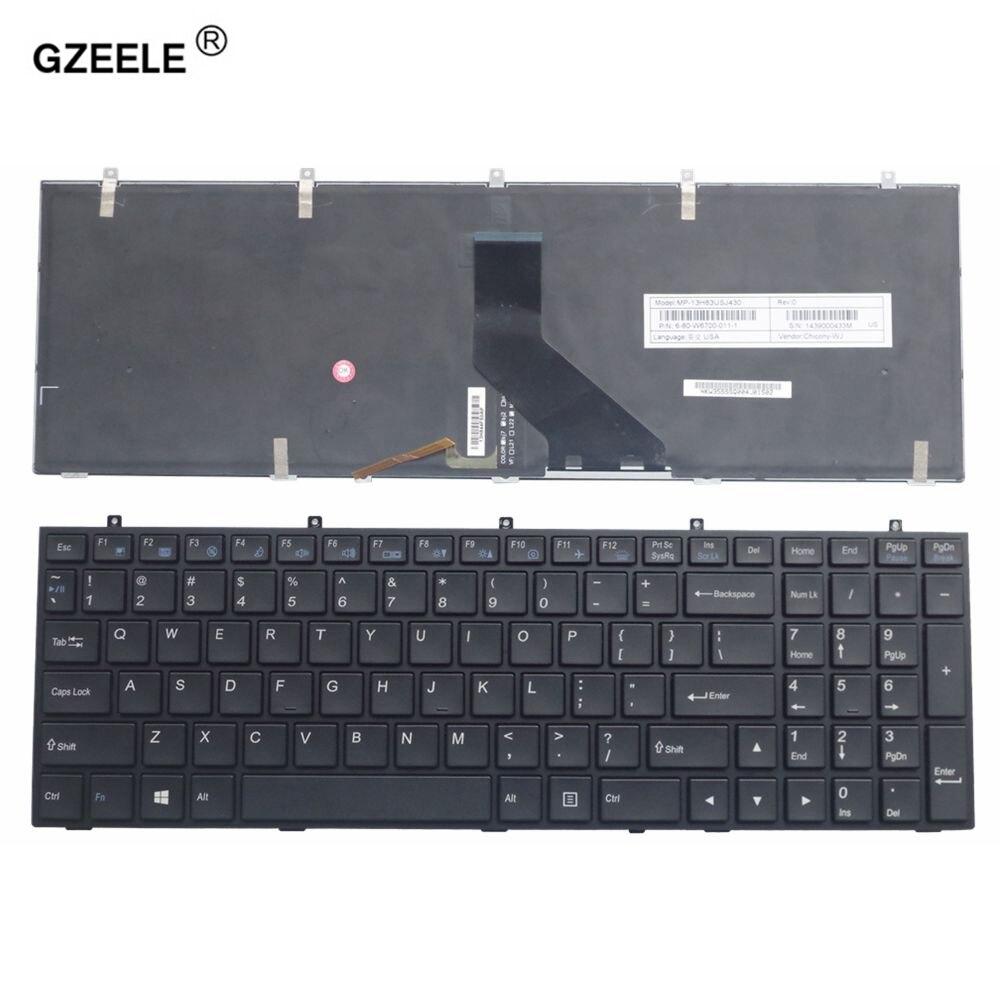 GZEELE Ordinateur Portable Clavier Anglais pour HASEE K660E K650C K590S K650S K790S K710C W760E K750C K750D I7 I5 D1 D2 K590S Avec rétro-éclairage