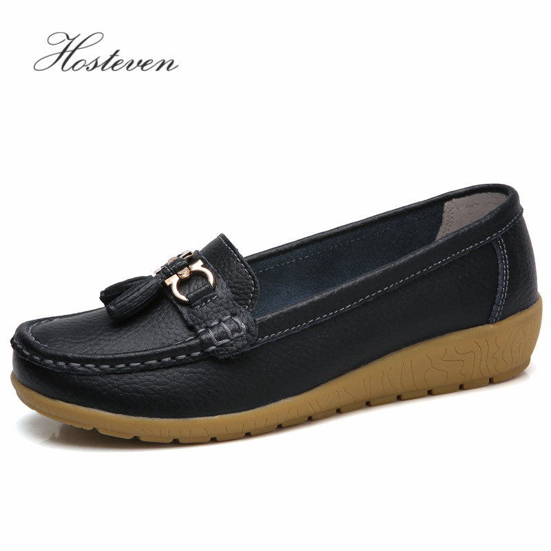 97e9c9fce72 Hosteven Women Shoes Loafers Genuine Leather Flats Moccasins Shoes Spring  Autumn Female Casual Ladies Leather Black