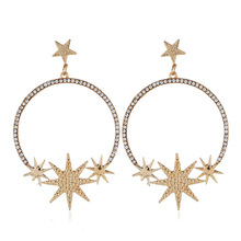 цены на exaggerated fashion geometric ear jewelry  star Moon  Earrings dangle earrings  trendy   big earrings  rhinestone earrings  в интернет-магазинах
