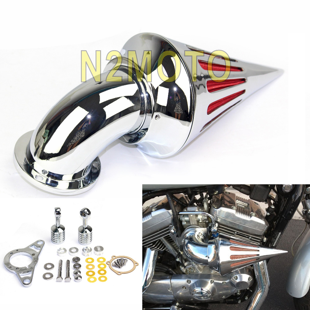 Chrome Spike Motorcycle Air Cleaner Intake Filter For Harley Davidson Softail Road King Glide 2001 2009