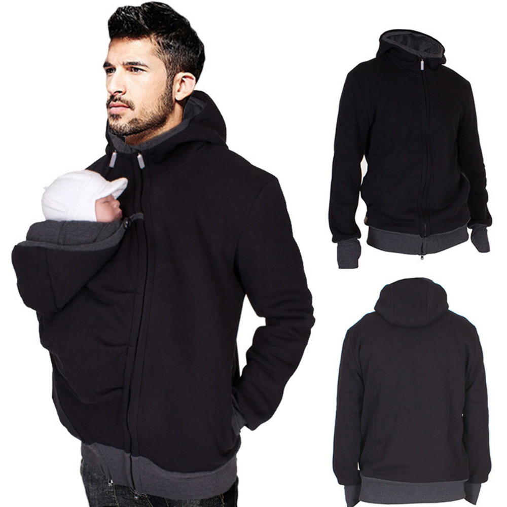 Hoodies Dad winter kangaroo cotton baby carrier jackets zipper coat hoodies wearing carry infant sweatshirt winter warm clothes kangaroo pocket drop shoulder color block sweatshirt