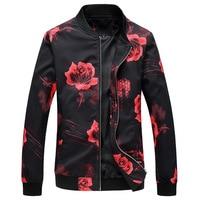 JOBOX Floral Bomber Jacket Coat Mens Flower Printing Slim Fit Male Jackets Windbreaker Baseball Jacket Man Clothes Puls size 6XL