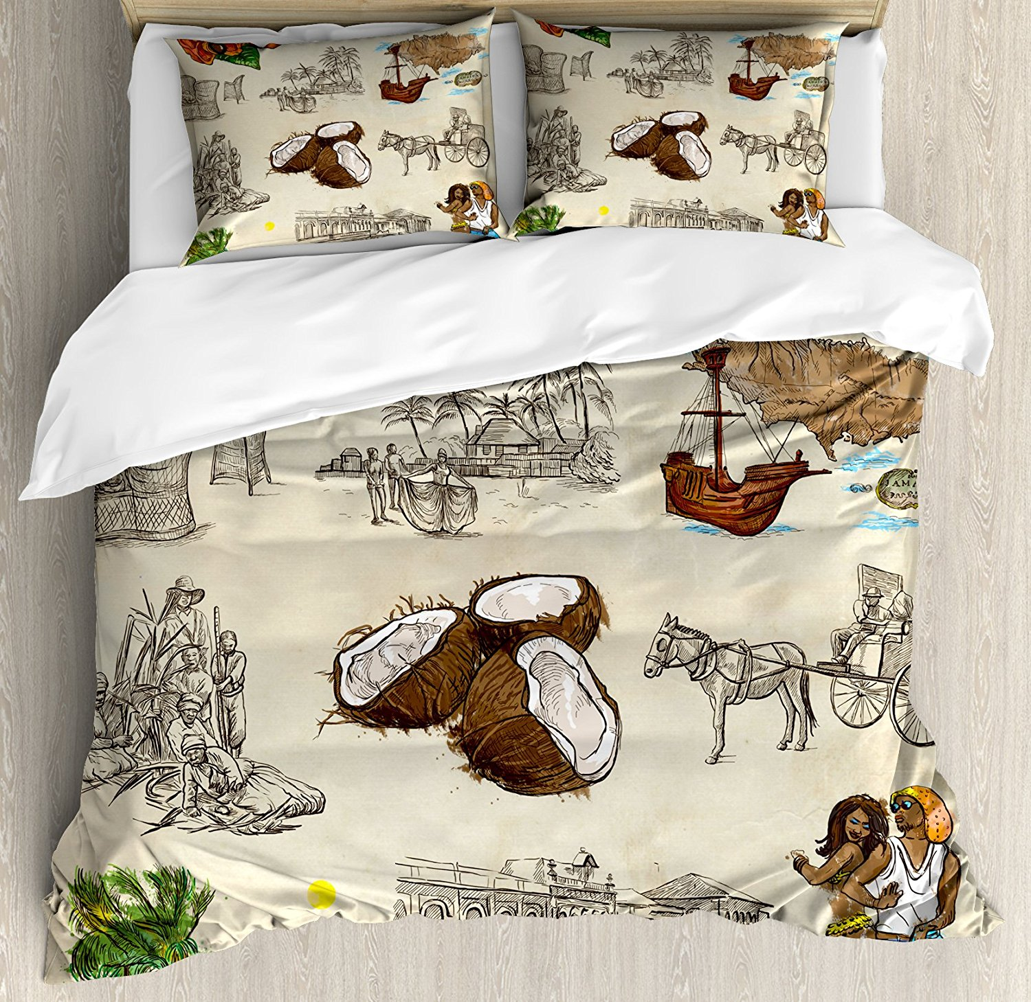Jamaican Duvet Cover Set Hand Drawn Illustrations of Elements from Caribbean Cultures Old Paper Effect Decor 4pcs Bedding Set