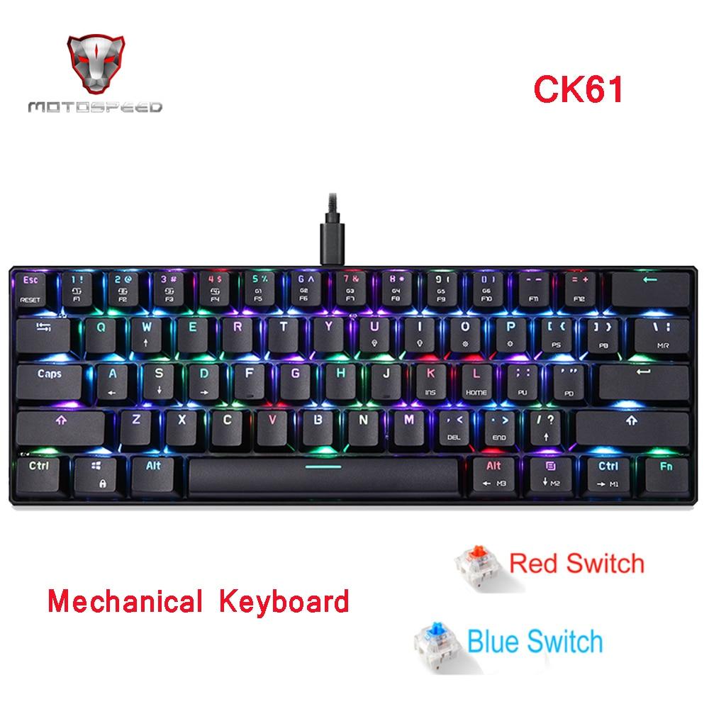 Clavier mécanique rvb de clavier de jeu de MOTOSPEED CK61 avec la vitesse rouge bleue de commutateur toutes les touches anti-fantômes pour le jeu de boîte de TV d'ordinateur