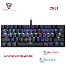 Механическая игровая клавиатура MOTO SPEED CK61, RGB клавиатура с синим и красным переключателем скорости, Все клавиши против Призрака для компьютера, ТВ приставки, игр