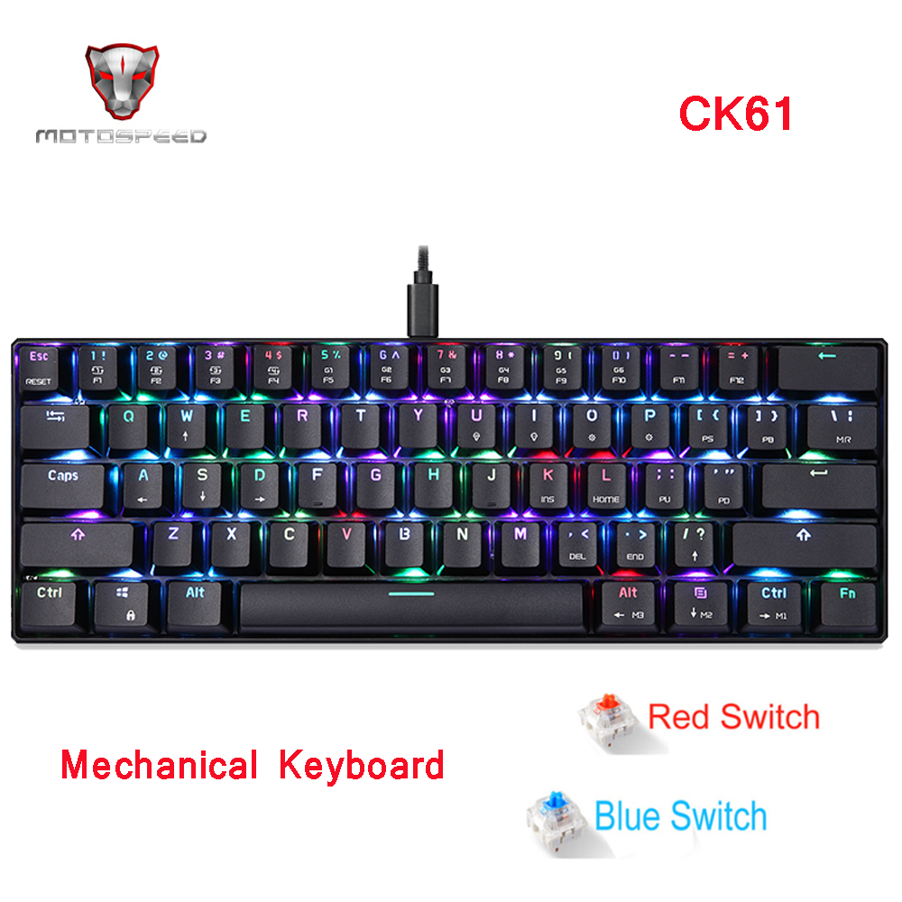 MOTOSPEED CK61 Gaming Mechanical Keyboard RGB Keyboard With Blue Red Switch Speed All Anti-ghost Keys For Computer TV BOX Gaming