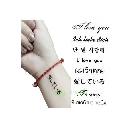 Impermeable Tatuaje Temporal Etiqueta En El Cuerpo Te Amo Tatto
