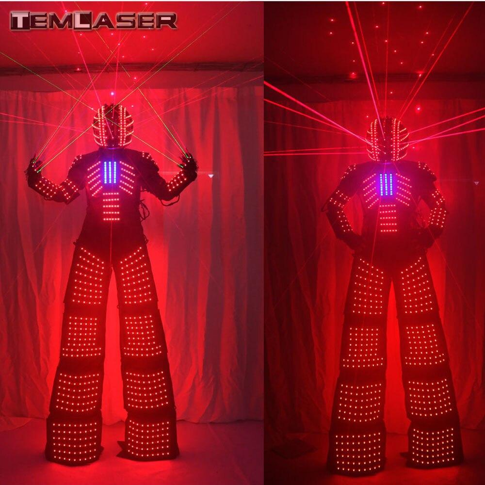 LED Luminoso Robot Costume Con Il Laser Casco Guanti Laser Robot Costume LED tuta Robot. per Festival di Musica, partito S