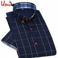 2017 New British style Men's Short Sleeve Shirt Plaid Casual Summer Shirts Slim Fit Korean Men Cotton Man Fashion Shirt YN588