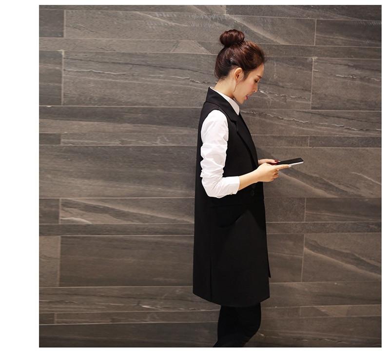 2016 Plus Size Long Vest Woman Sleeveless Blazer Outwear Black Vests Spring Lapel Vest Chaleco Mujer Coletes Femininos ZA053
